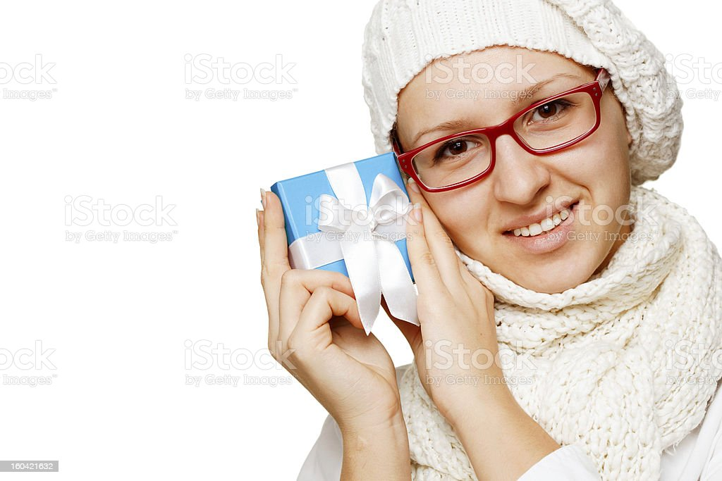 Women holding present royalty-free stock photo