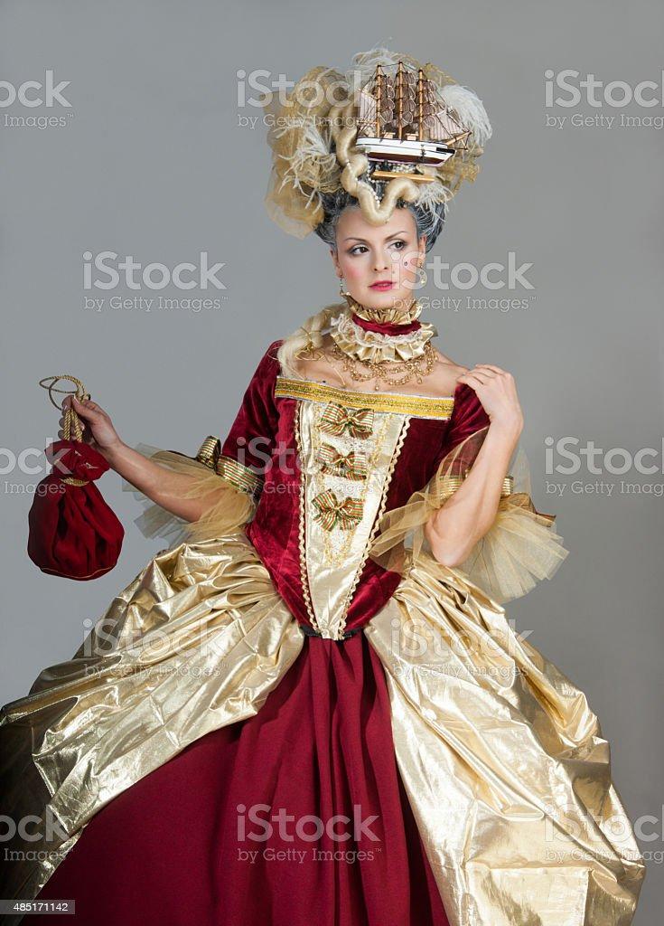 Women in 18th century style - retro fashion stock photo