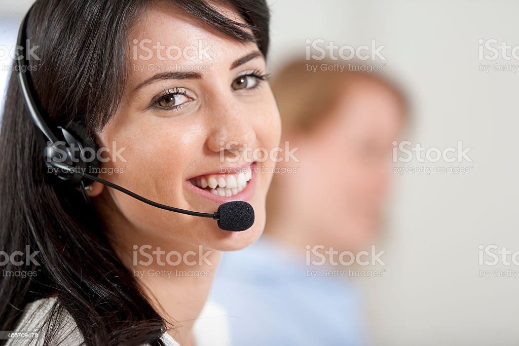 Women in a busy call centre stock photo