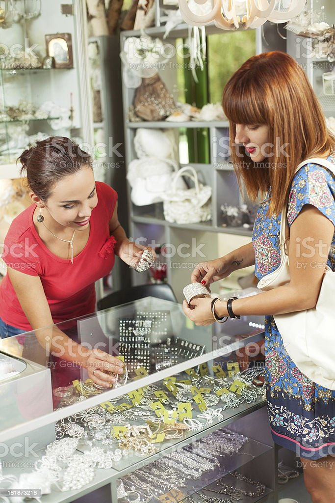 Women in a jewelry boutique royalty-free stock photo