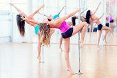 Women in a pole dance class