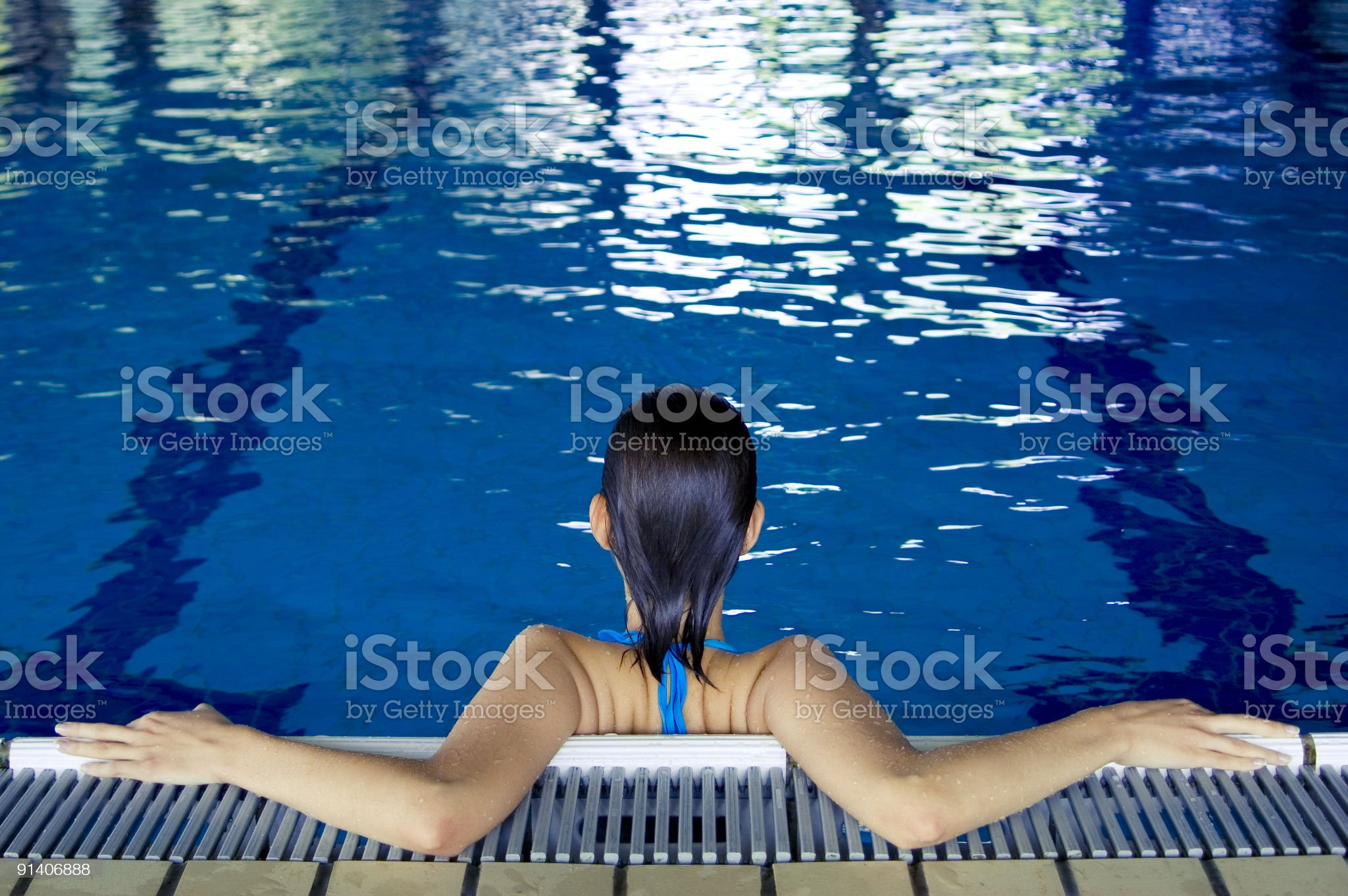 Women in a swimming pool royalty-free stock photo