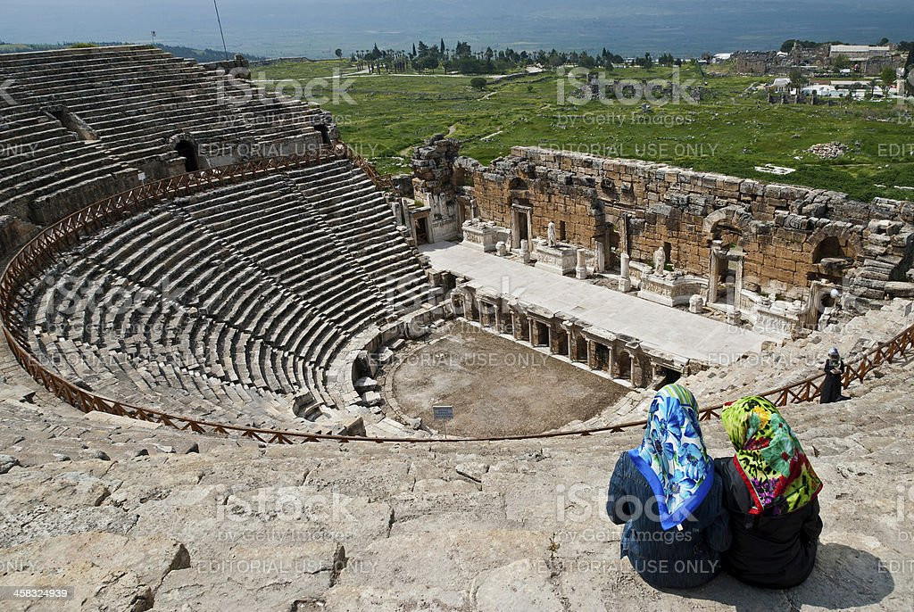 Women in ancient theater stock photo