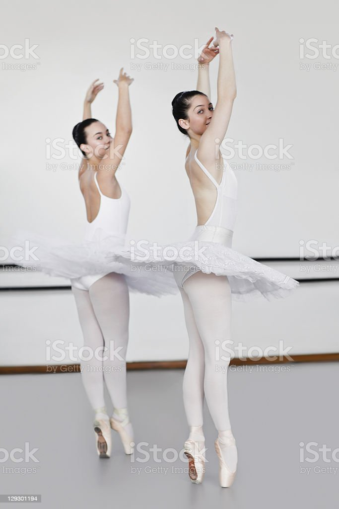 Women in ballet costumes dancing royalty-free stock photo
