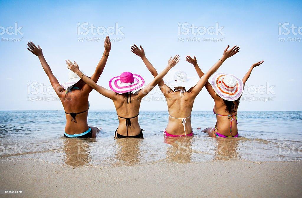 Women in beach royalty-free stock photo