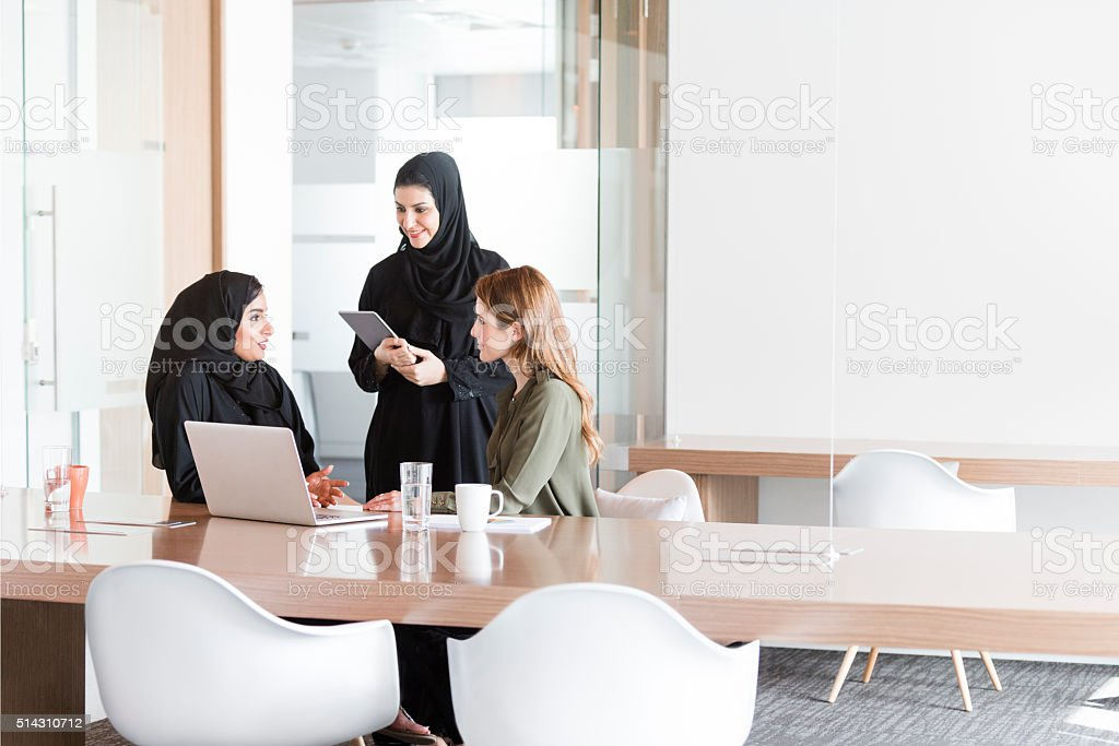 Women in business meeting in Middle East office stock photo