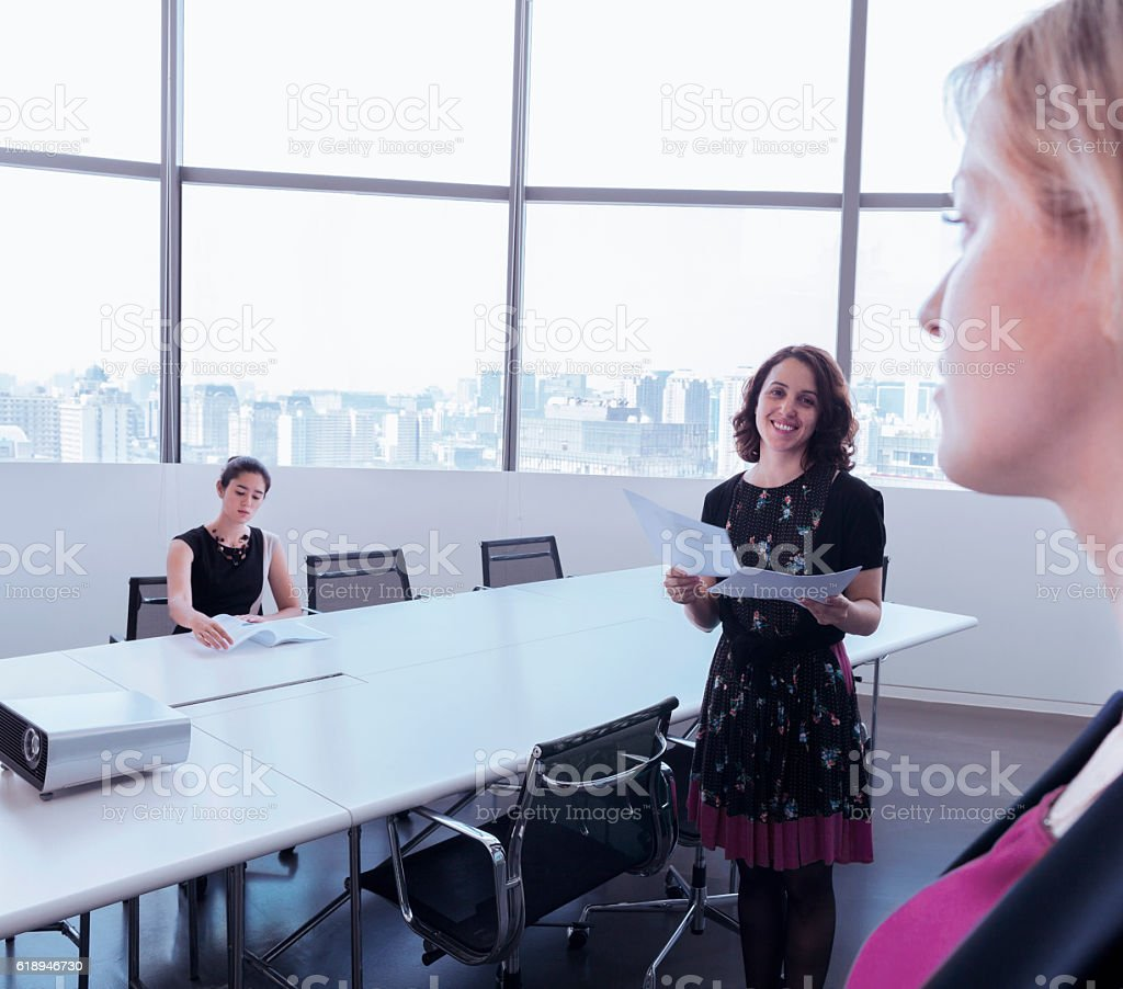 Women in business meeting in modern conference room stock photo