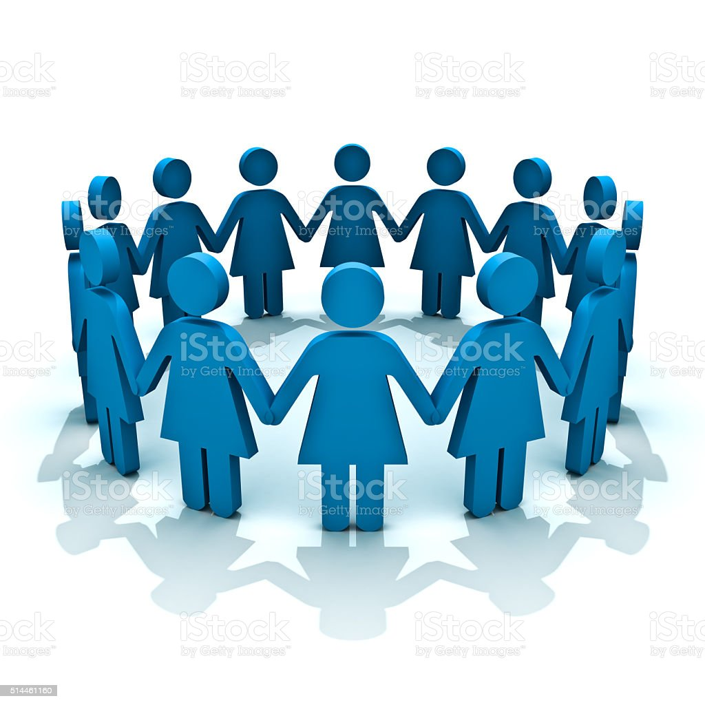 Women in circle stock photo