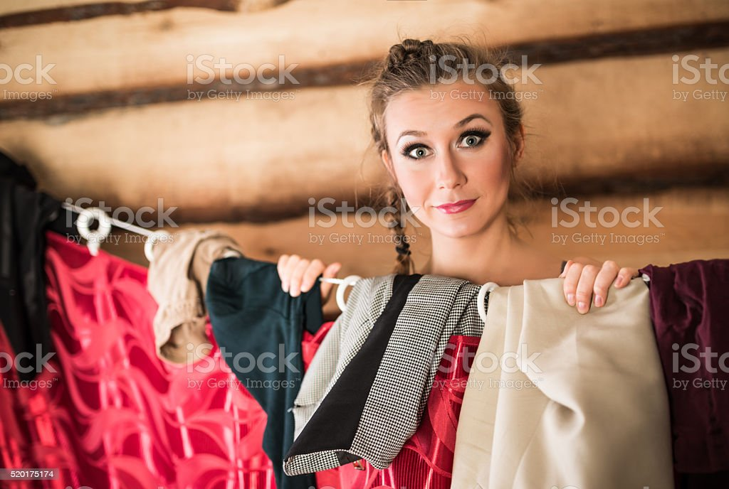 Women in dressing room stock photo