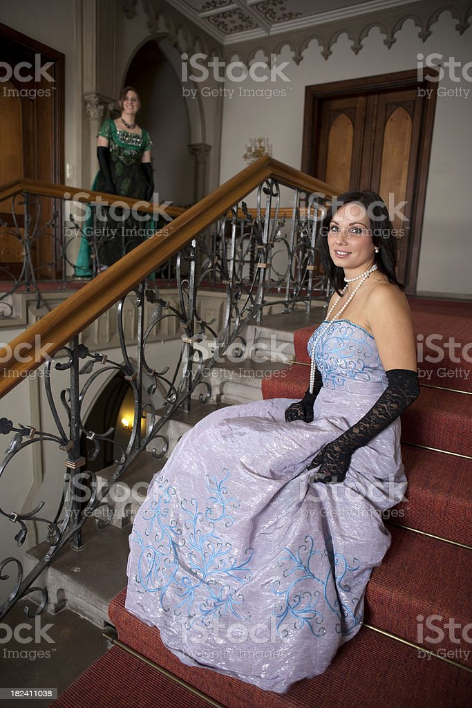Women in elegant dresses royalty-free stock photo