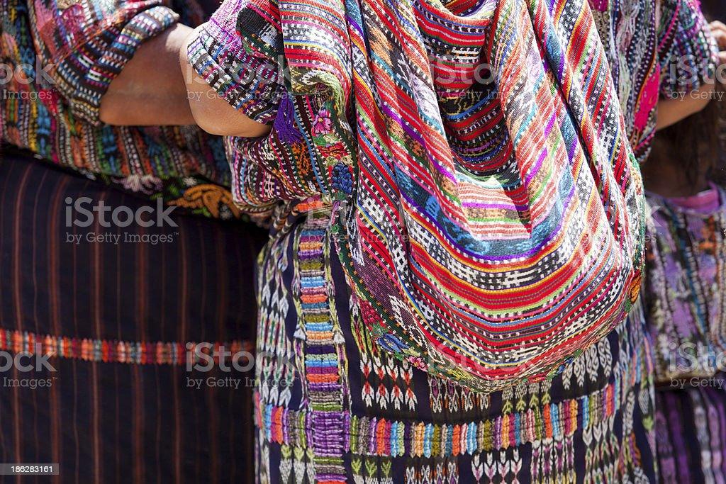 Women in ethnic traditional Latin American dresses. stock photo