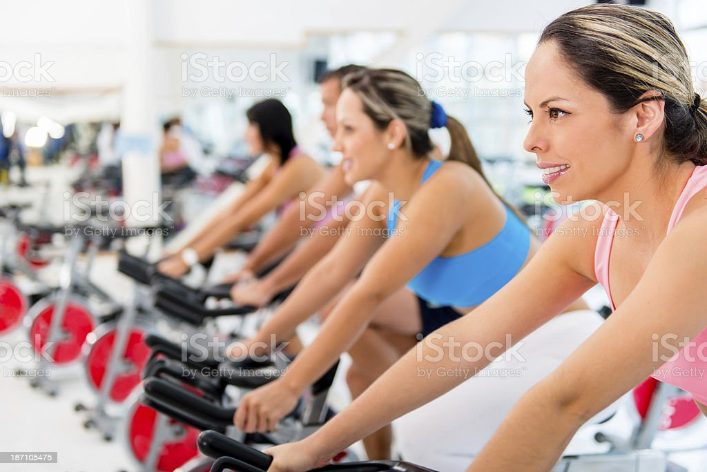 Women in spinning class royalty-free stock photo