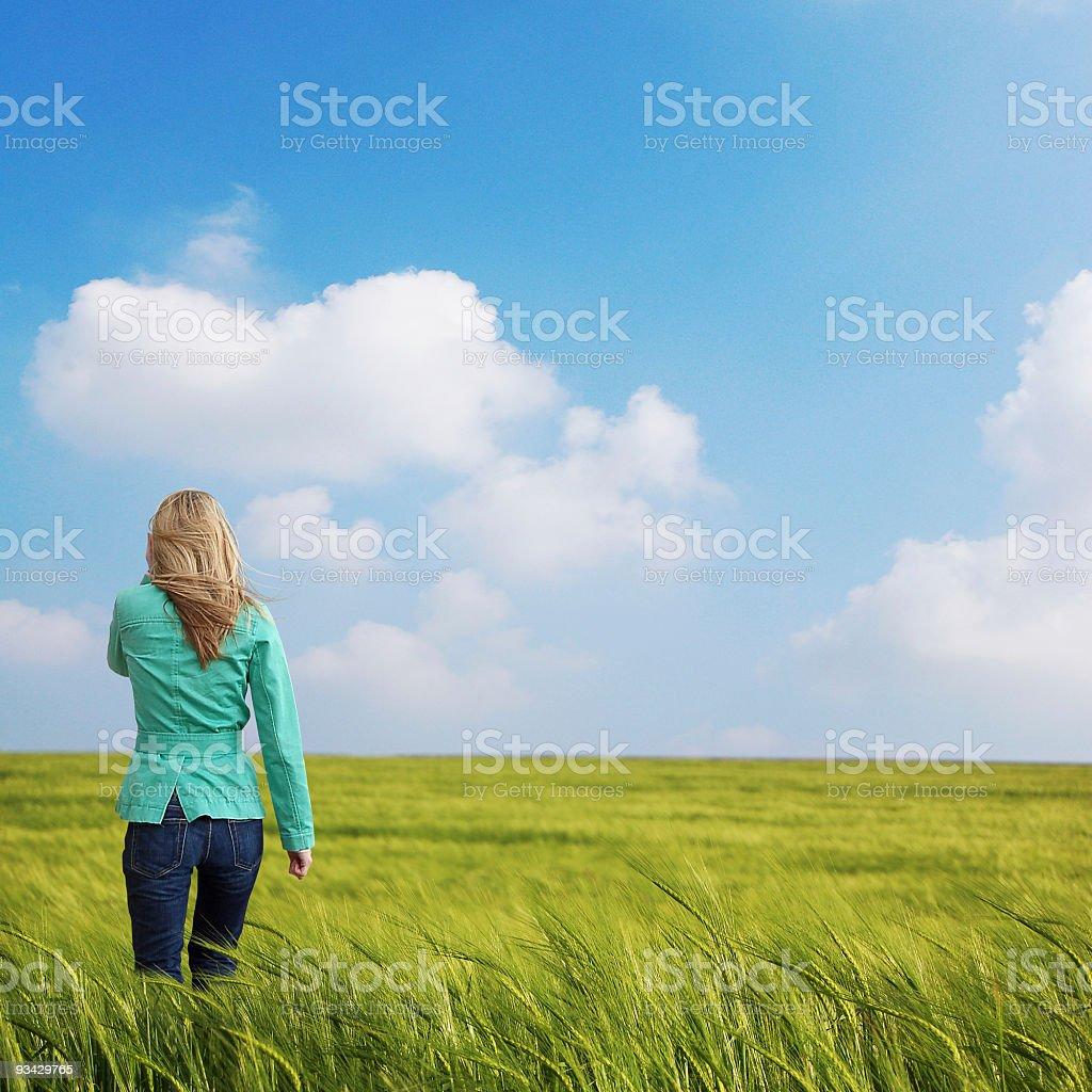 Women in Field royalty-free stock photo