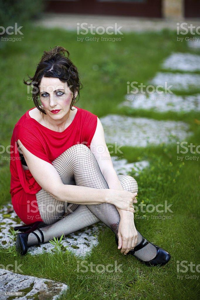 women in her garden royalty-free stock photo