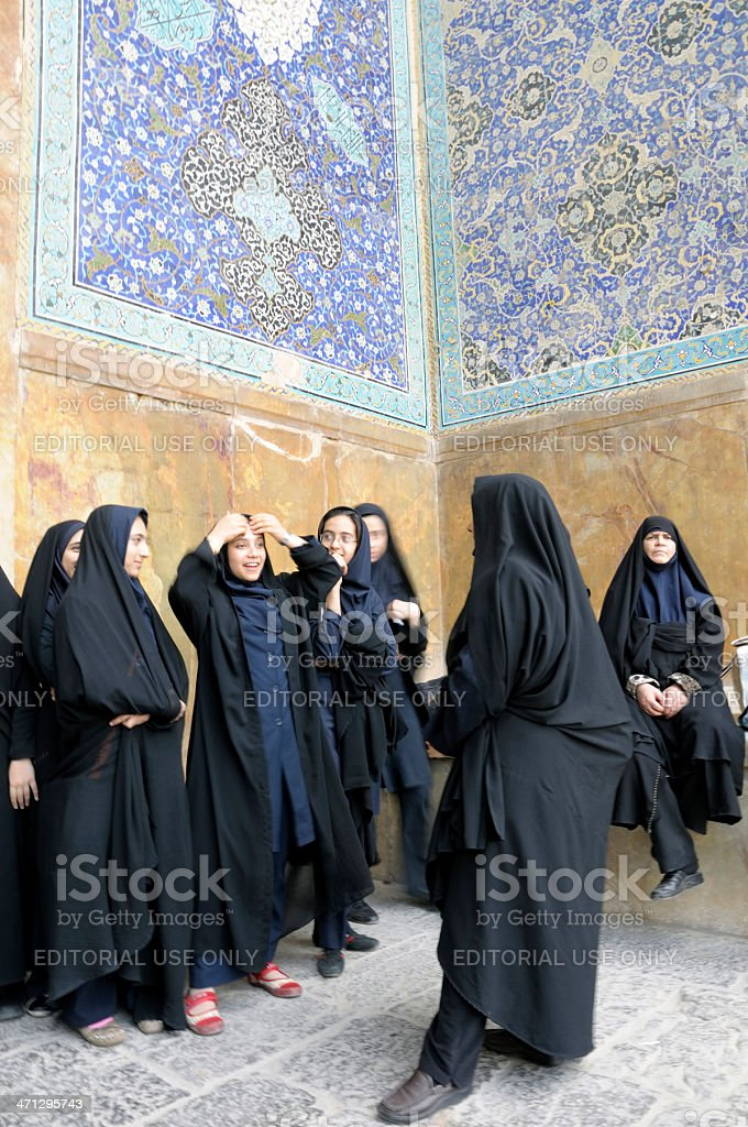 Women in Isfahan, Iran stock photo