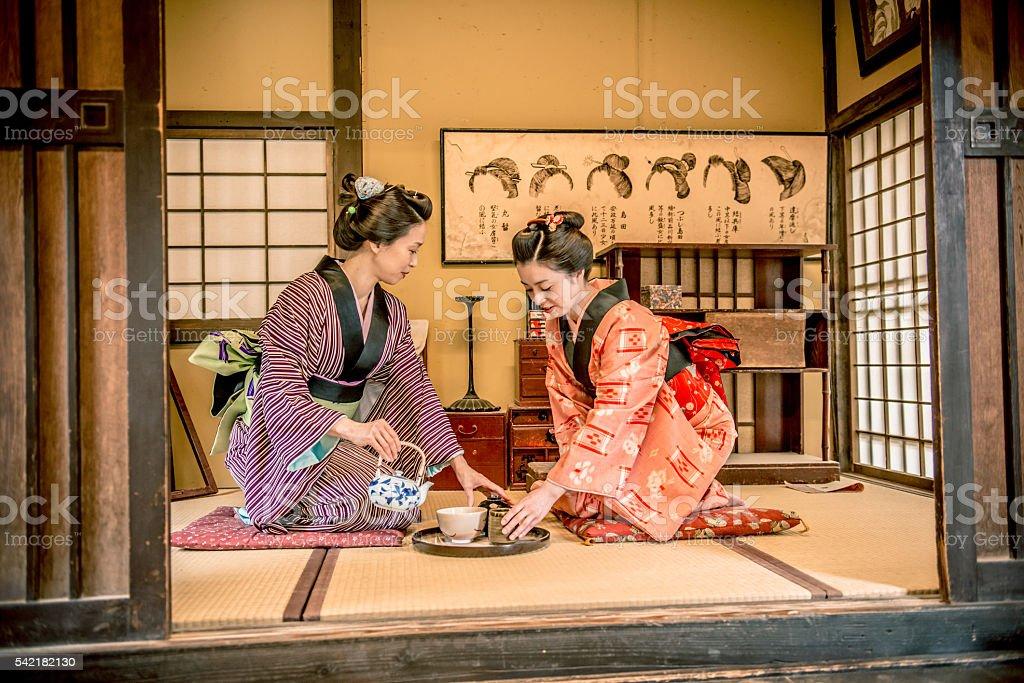 Women in Kimono Drinking Matcha Tea, Edo Period, Kyoto, Japan stock photo