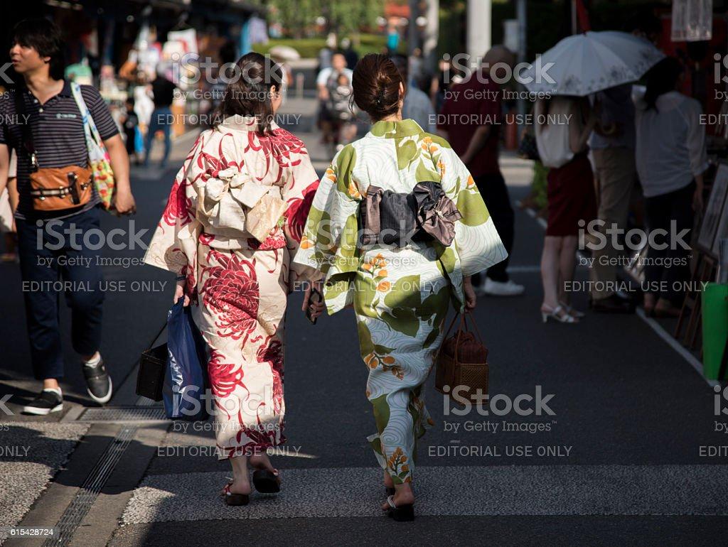 Women in kimono, Tokyo stock photo