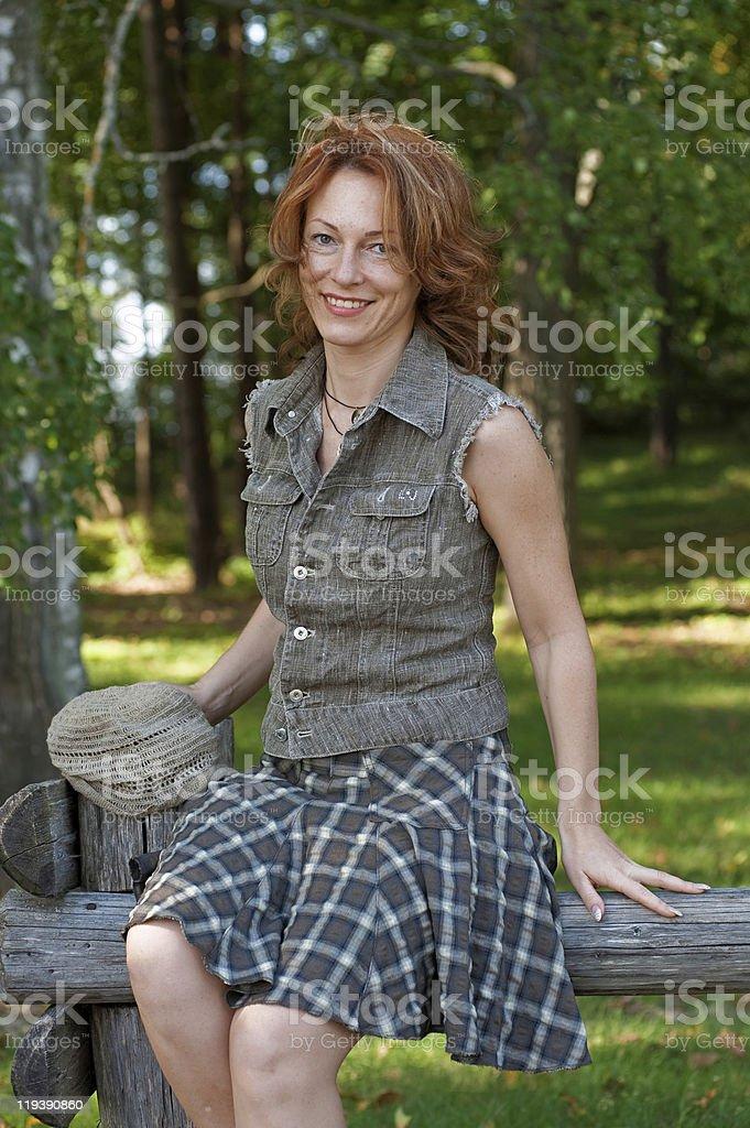 Women in meadow royalty-free stock photo