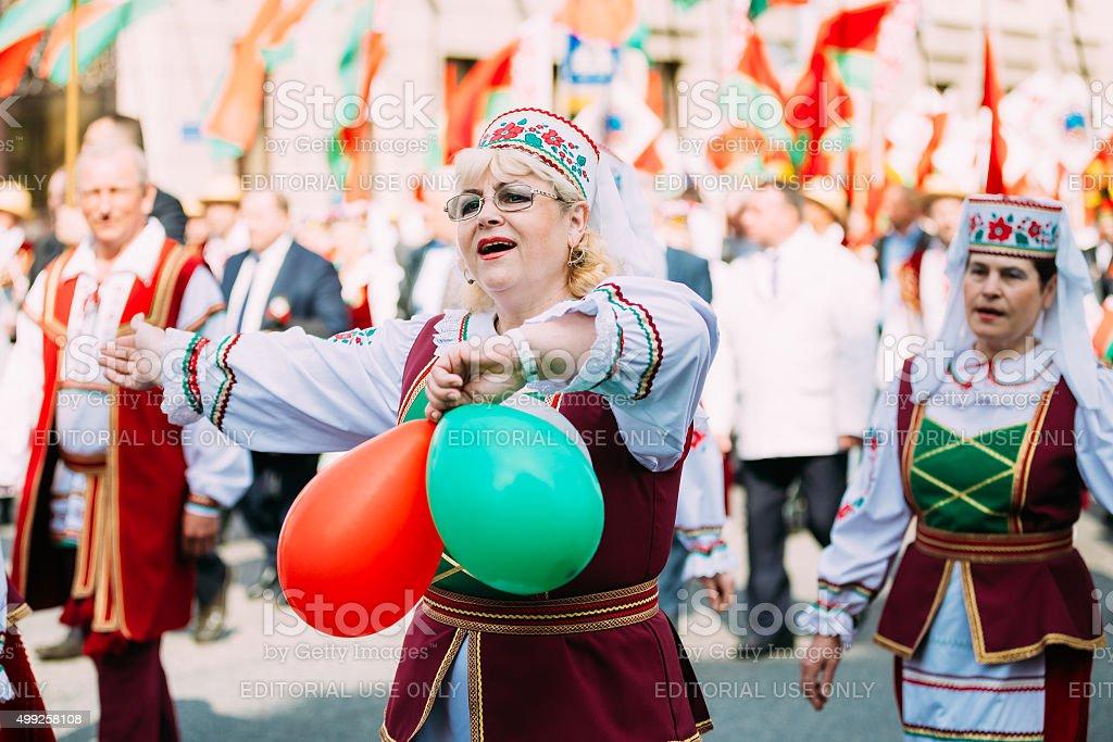 Women in national Belarusian folk costume stock photo