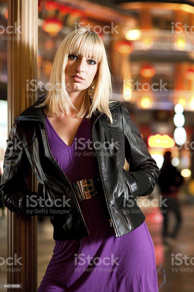 Women in night city royalty-free stock photo