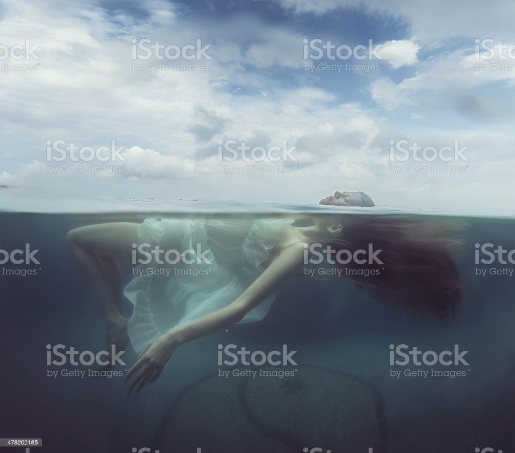 women in pool royalty-free stock photo