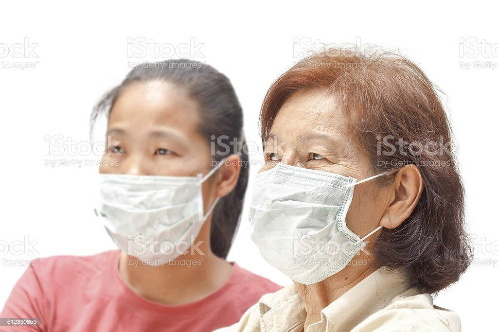 Women in protective medical mask stock photo