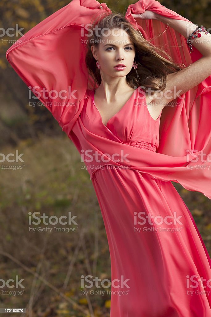 Women in red dress outdoors royalty-free stock photo