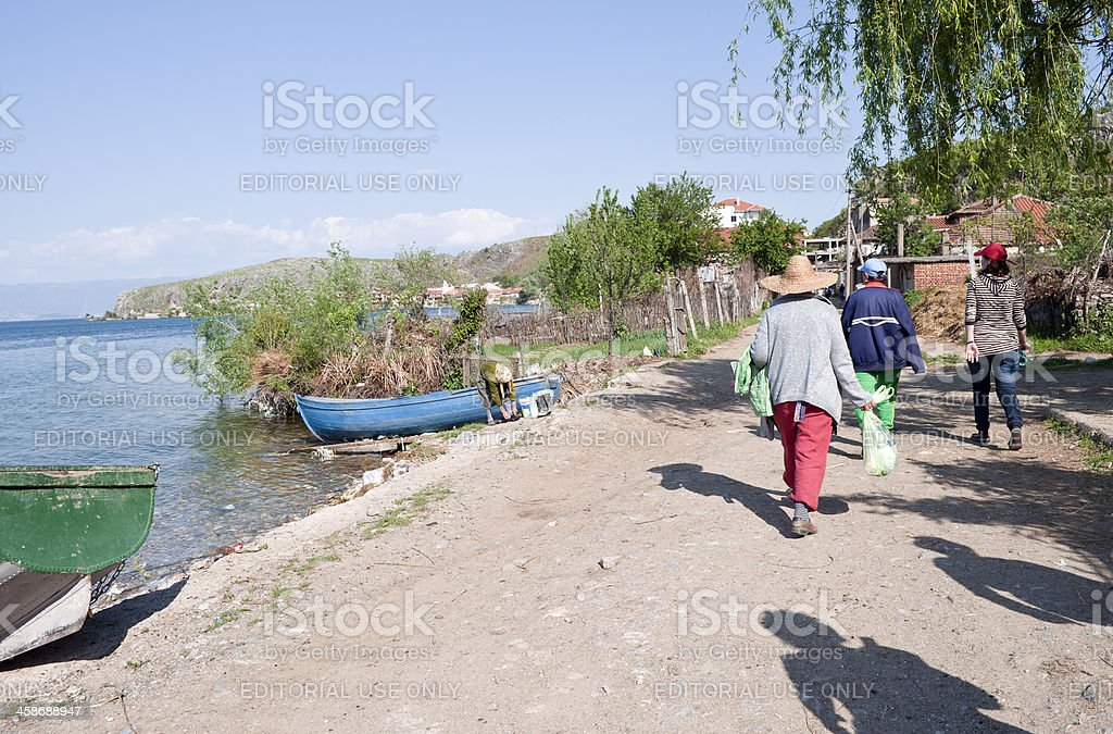Women in Rural Albania After Work royalty-free stock photo