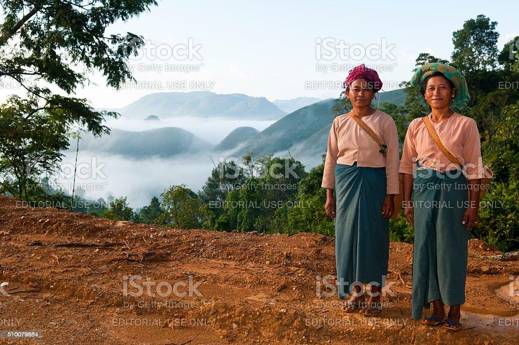 Women in rural Burma stock photo