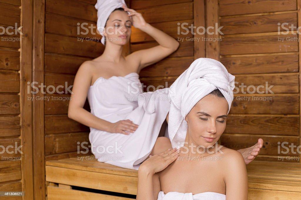 Women in sauna. stock photo