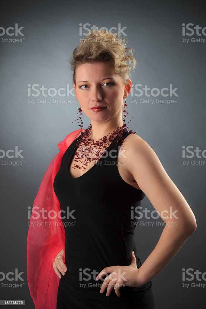 women in the black evening dress royalty-free stock photo