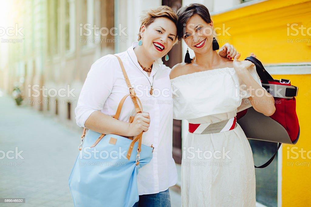 Women in the city stock photo