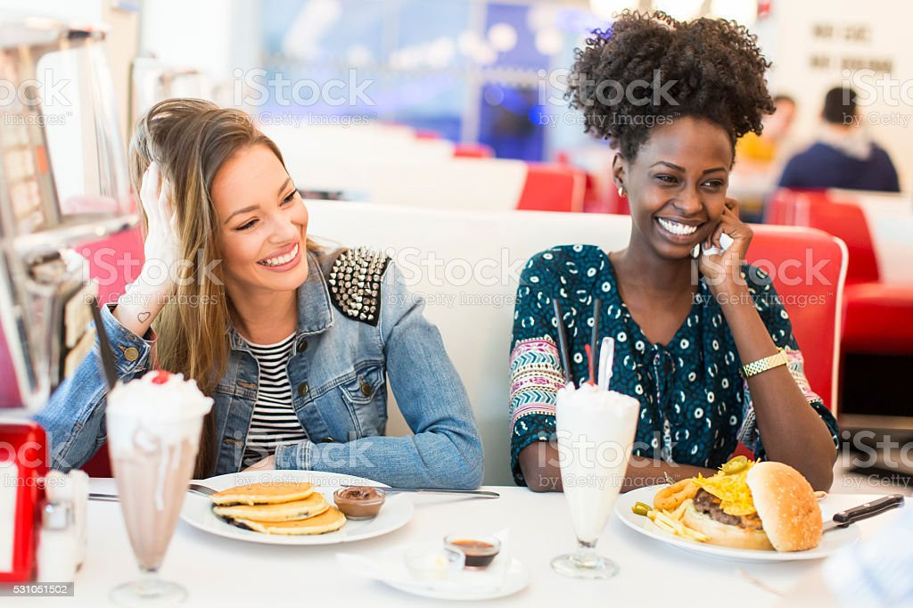 Women in the diner stock photo