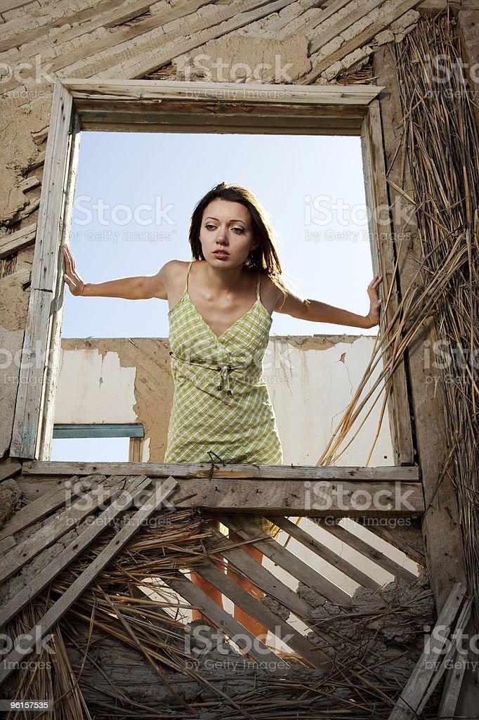 Women in the window stock photo