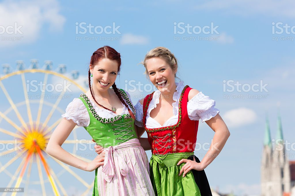Women in traditional Bavarian clothes or dirndl on festival royalty-free stock photo