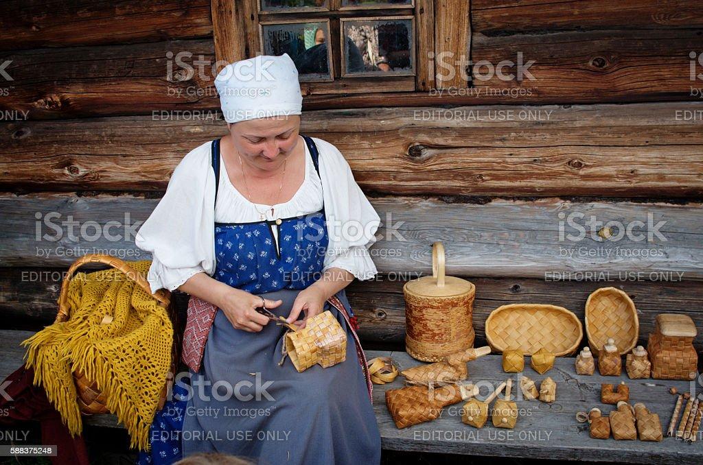 Women in traditional russian costume on Kizhi island, Karelia, stock photo