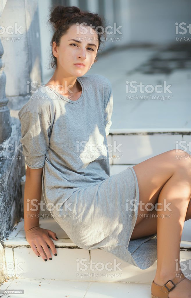 Women It stands near a cave stock photo