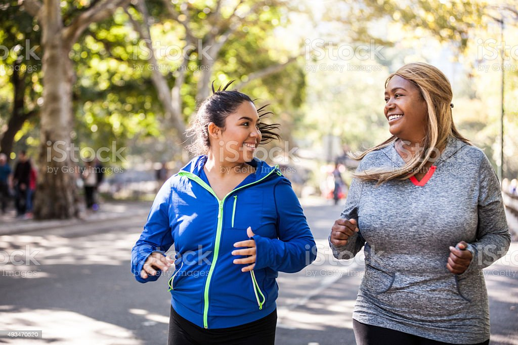 Women jogging in Central Park New York stock photo