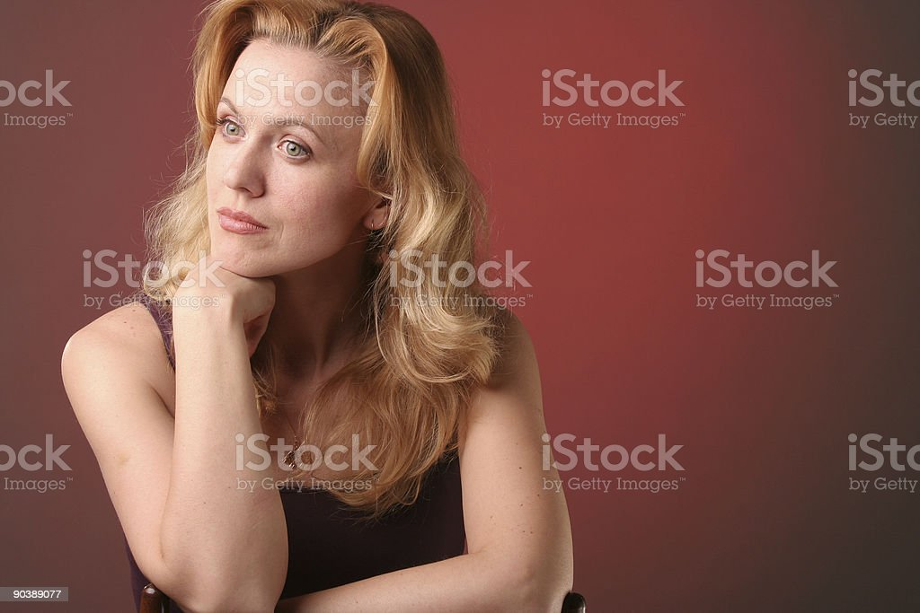 Women laugh on red royalty-free stock photo