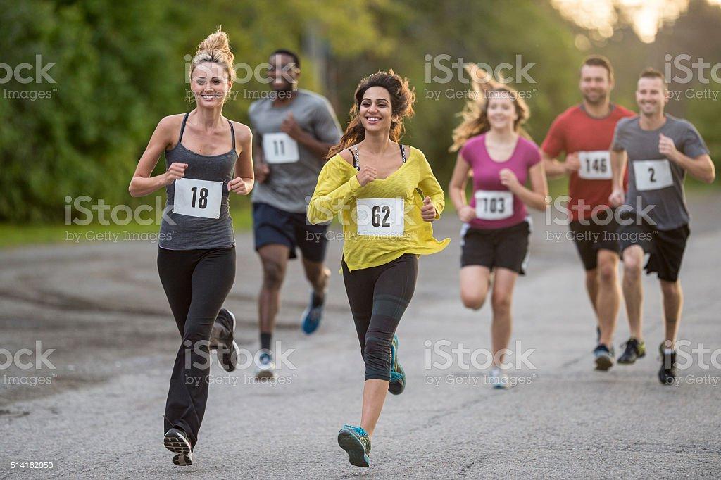 Women Leading a Race stock photo