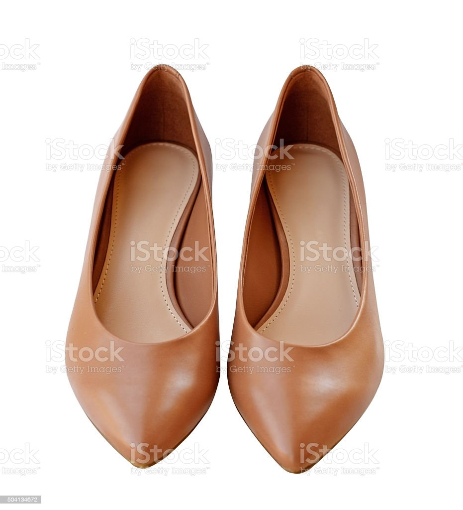 women leather heel shoes isolated over white with clipping path stock photo
