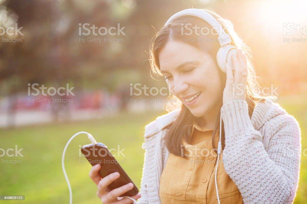 Women listening music stock photo