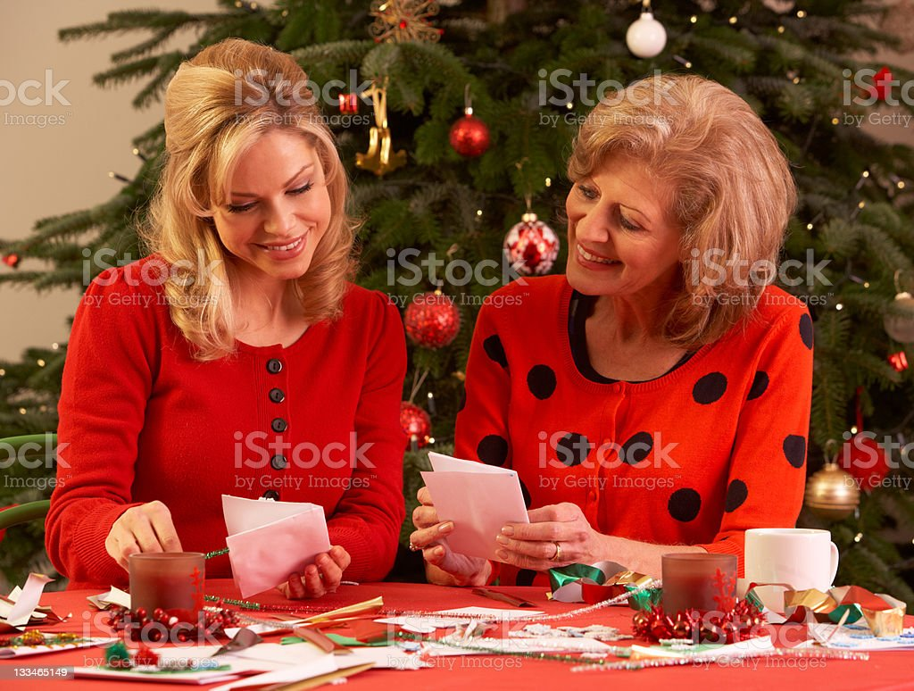 Women Making Christmas Cards At Home royalty-free stock photo