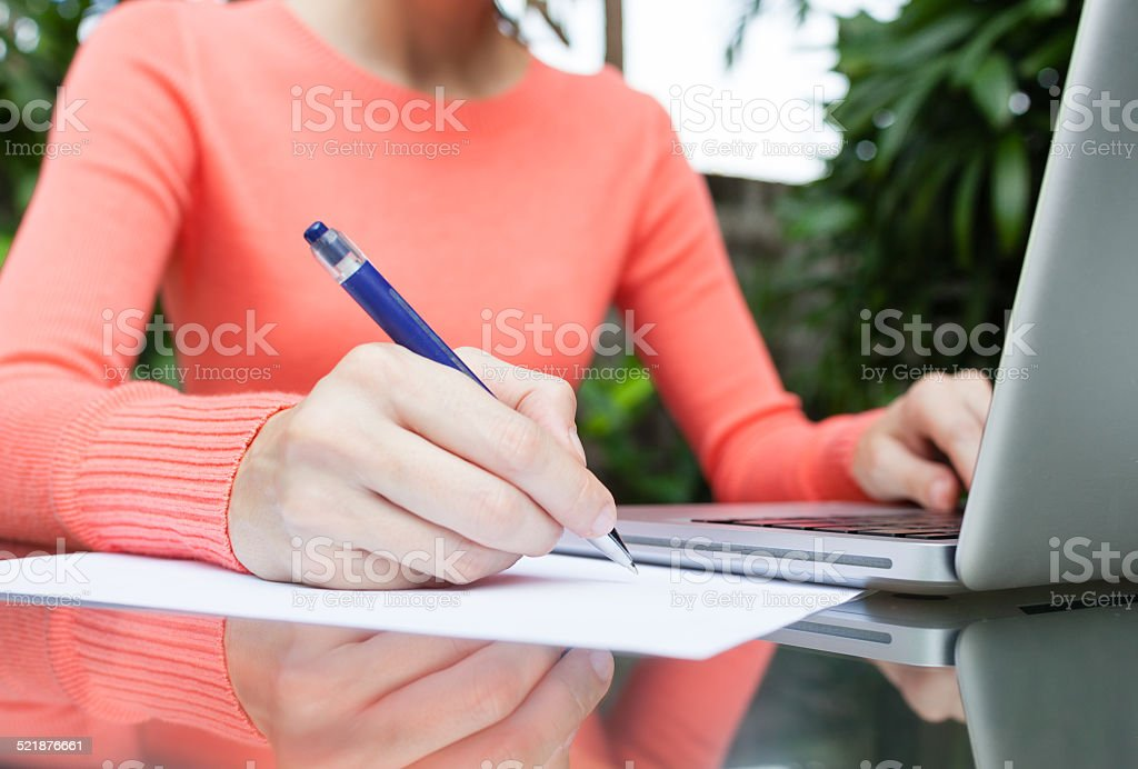 Women making notes stock photo