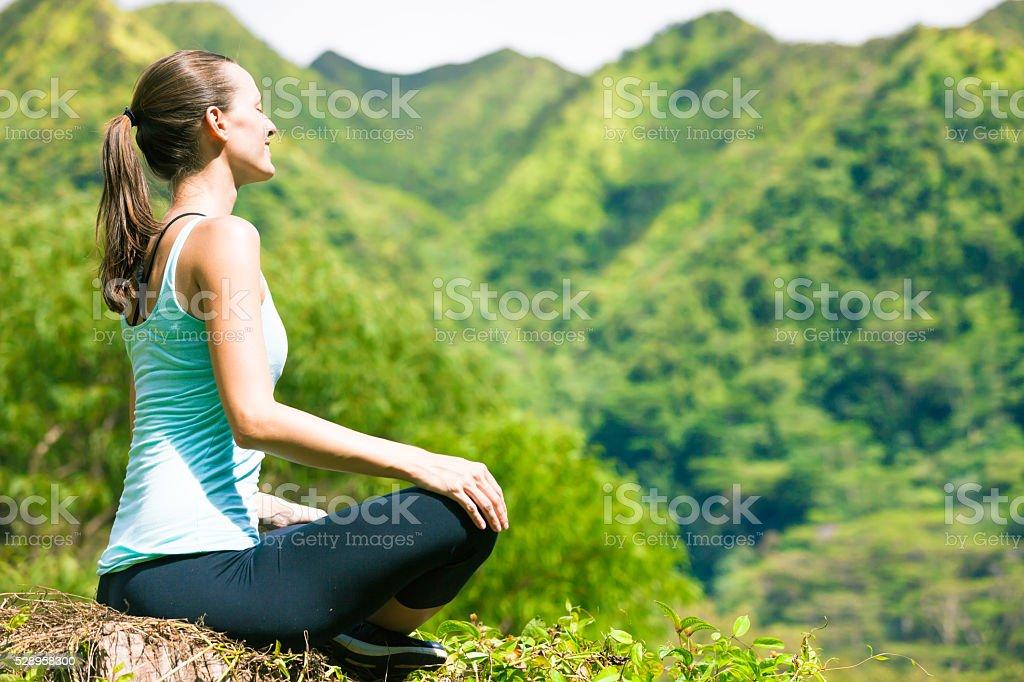 Women meditating stock photo
