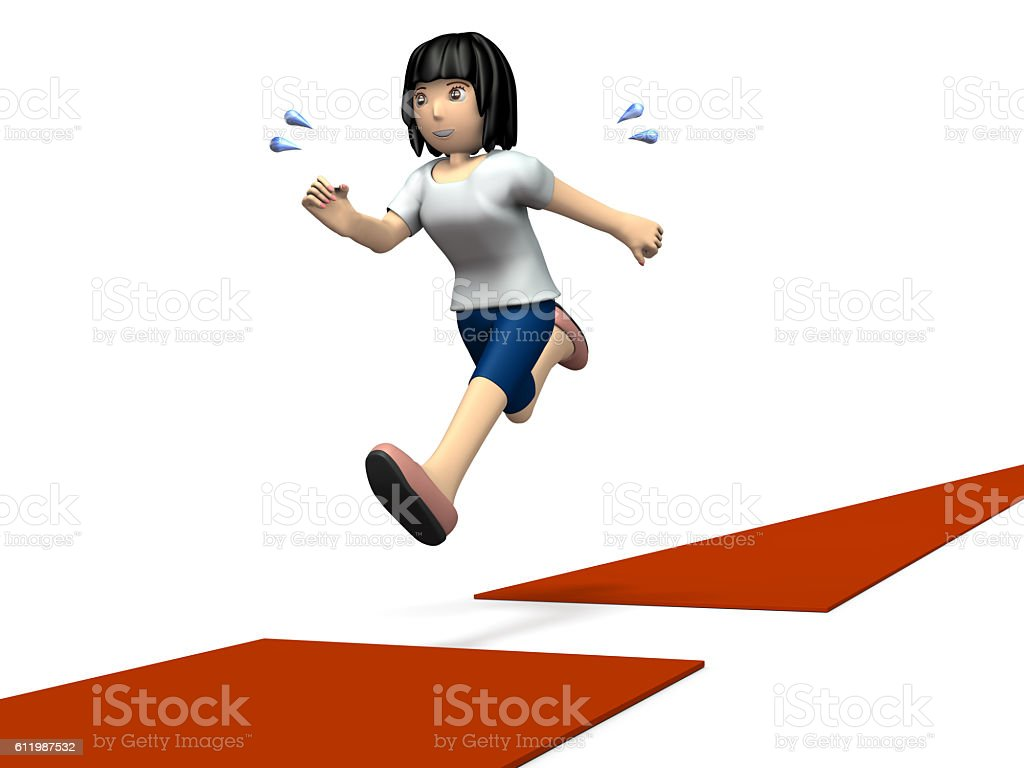 Women move forward to overcome the interrupted course. stock photo