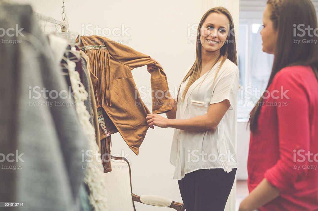 Women new business vintage clothes shop stock photo