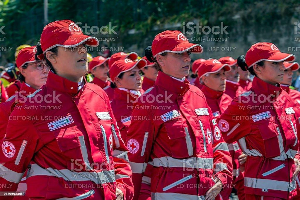 Women of the Italian Red Cross troops stock photo