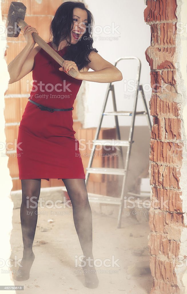Women on a building site royalty-free stock photo