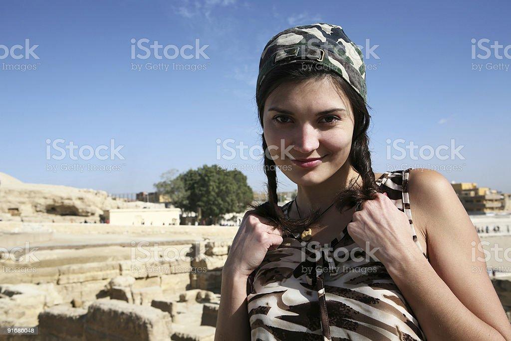 Women on background Giza. royalty-free stock photo